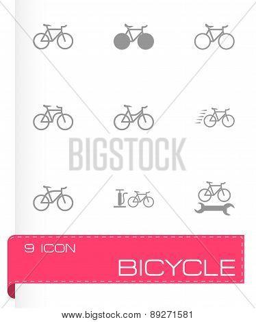 Vector black bicycle icon set