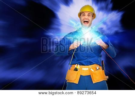 Repairman screaming while holding wires against blue sky with white clouds