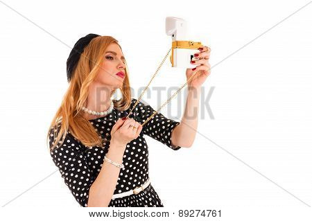 woman take a self on glamor camera