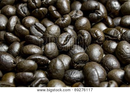 Background Brown Roast Coffee Beans. Macro Close Up