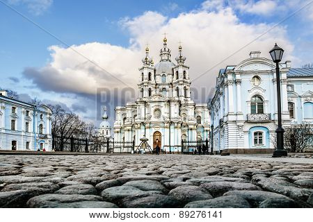March 22, 2015. Russia St. Petersburg, Smolny Cathedral