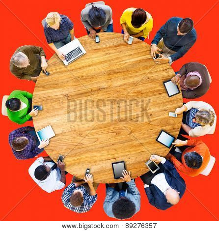 Group of Multiethnic People Connected Digital Devices Concept