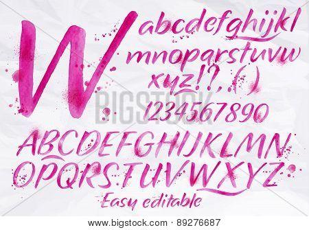 Modern Alphabet Pink Color.