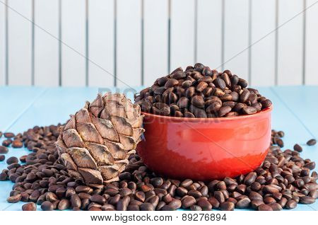 Pine cones and cedar nuts in ceramic bowl on light background.  close up