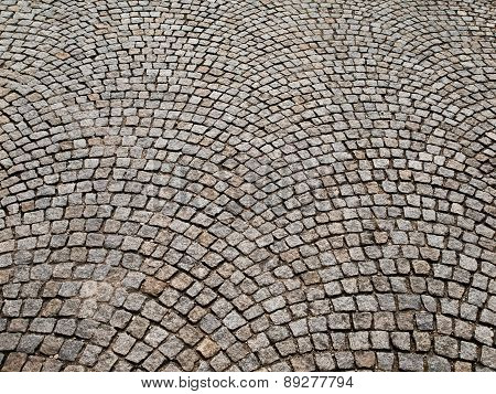 Cobbled pavement made of granite cubes