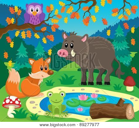 Forest animals topic image 2 - eps10 vector illustration.