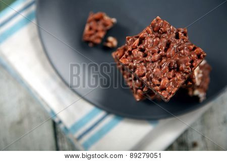 Close-up of chocolate cookies on plate