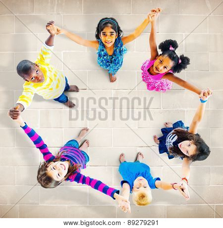 Children Kids Cheerful Unity Diversity Concept