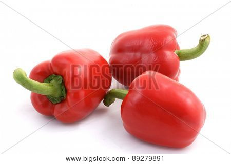 Red paprika on white background