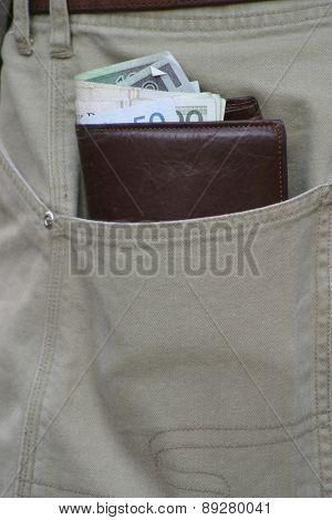 Wallet in pocket - close up