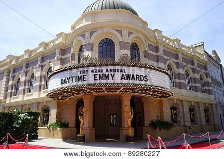 BURBANK - APR 26: Daytime Emmy Awards sign at the 42nd Daytime Emmy Awards Gala at Warner Bros. Studio on April 26, 2015 in Burbank, California