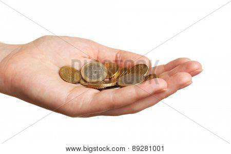 Female hand with coins isolated on white