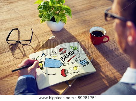 Businessman Writing Planning Marketing Brand Concept