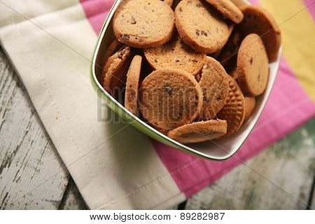 Close-up of cookies in bowl