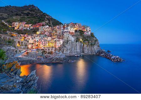 Manarola town on the coast of Ligurian Sea at night, Italy