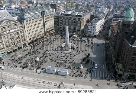 Dam Square In Amsterdam With National Monument
