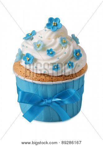 Forgetmenot cupcake isolated on a white background