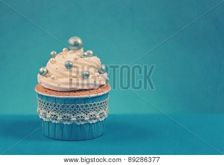 Cupcake on a blue background