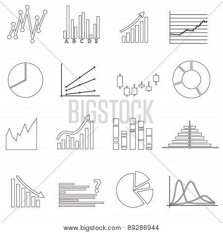 Black Outline Simple Graphs Variations Set Eps10