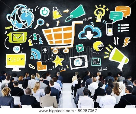 Business People Online Marketing Seminar Conference Concept