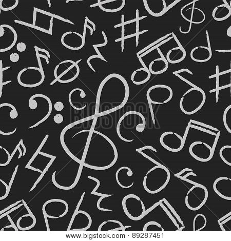 Music Note Icons On Black Board Seamless Pattern Eps10