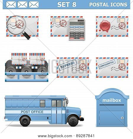 Vector Postal Icons Set 8