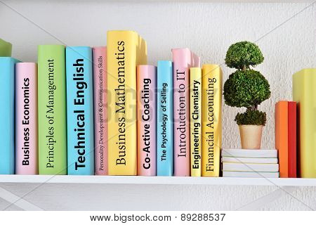 Textbooks on shelf close-up