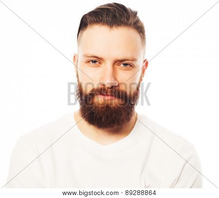 Stylish bearded man in white shirt. Close up portrait over white background.