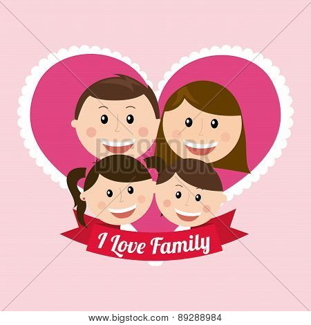 Family design over pink background vector illustration