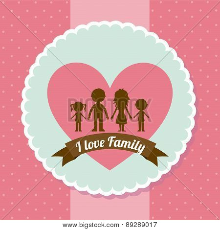 Family design over dotted pink background vector illustration