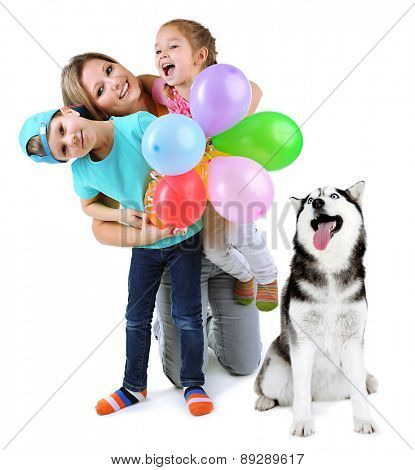 Mother with children and cute dog isolated on white