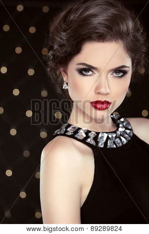 Fashion Glamour Elegant Woman Portrait With Red Lips And Hairstyle Over Lights Background. Attractiv