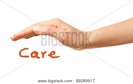 Female hand with care isolated on white