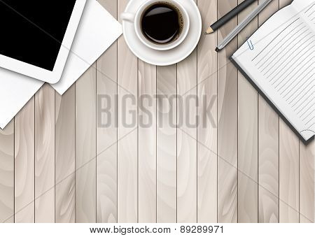 Office workspace - coffee, tablet, paper and some pens. Vector.