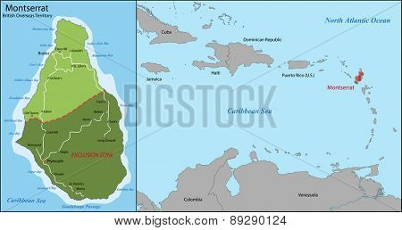 Montserrat is an island which is a British Overseas Territory in the Caribbean