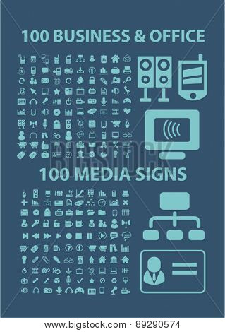 200 business, office, media, music, internet, communication, connection isolated icons, signs, illustrations website, internet mobile design concept set, vector