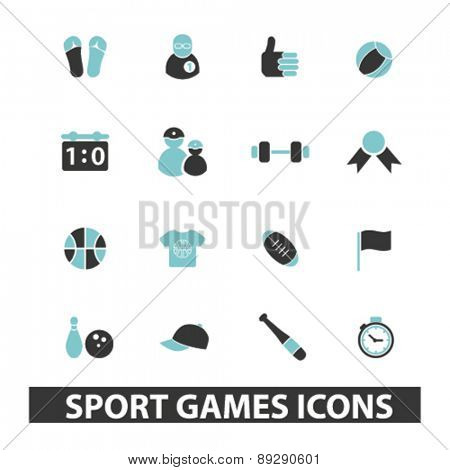 sport, games, fitness isolated icons, signs, illustrations website, internet mobile design concept set, vector