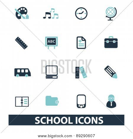 school, education, learning, study isolated icons, signs, illustrations website, internet mobile design concept set, vector
