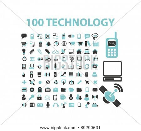 100 technology, communication, connection isolated icons, signs, illustrations website, internet mobile design concept set, vector