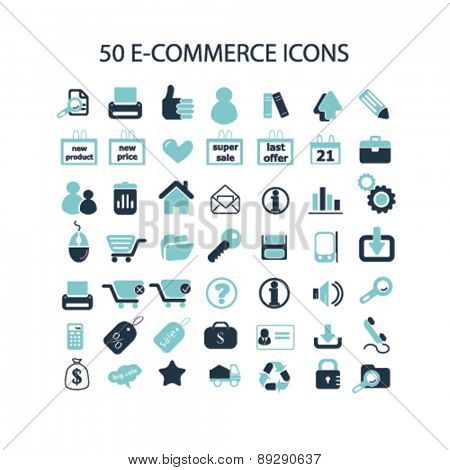 ecommerce, retail, commerce, internet shop, store isolated icons, signs, illustrations website, internet mobile design concept set, vector