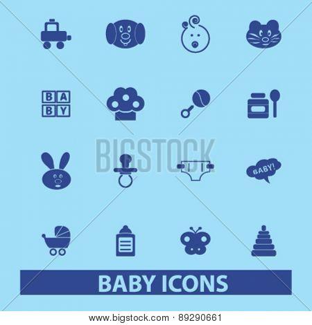baby icons set, veoctr
