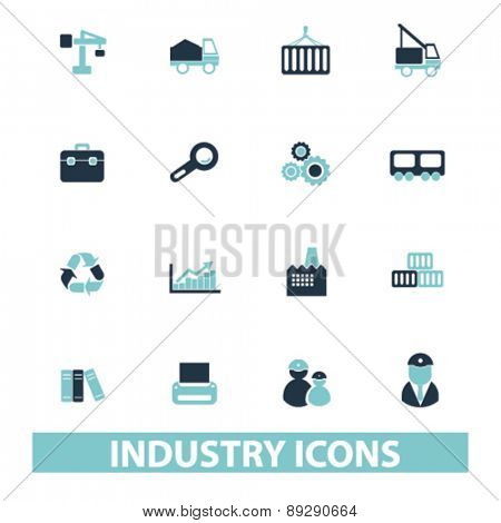 industry, factory isolated icons, signs, illustrations website, internet mobile design concept set, vector