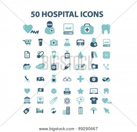 50 hospital, medicine, health care isolated web, internet, mobile, applcation icons, signs, illustrations design concept set, vector