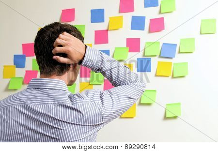Businessman looking at wall of sticky notes with hands behind head
