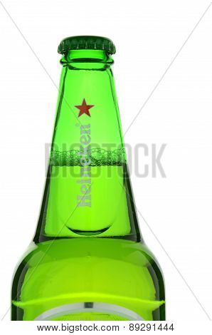 Heineken lager beer isolated on white background.