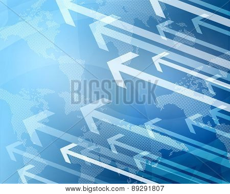 Abstract blue background with world map