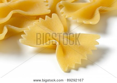 Heap of traditional Italian farfalle close up