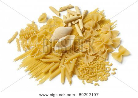 Variety of traditional Italian pasta on white background