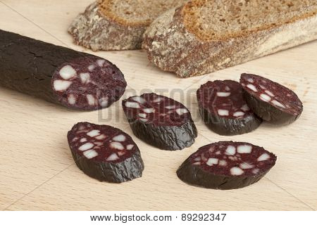 Traditional German black pudding sausage and slices