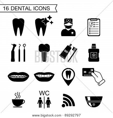 16 Dental Icons. Isolated. Vector